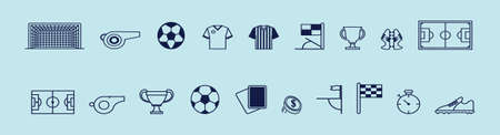 set of football cartoon icon design template with various models. vector illustration isolated on blue background