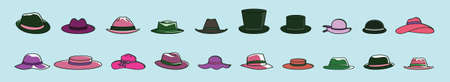 set of  hat cartoon icon design template with various models. vector illustration isolated on blue background