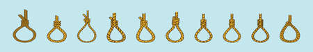 set of gallows rope loop hanging cartoon icon design template with various models. vector illustration isolated on blue background Illustration