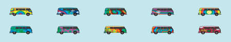 set of bus cartoon icon design template with various models. vector illustration isolated on blue background