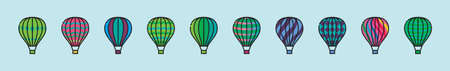 set of hot air balloon cartoon icon design template with various models. vector illustration isolated on blue background