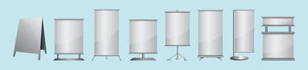 Set of blank roll up banner display cartoon icon design template with various models. vector illustration isolated on blue background