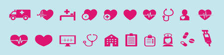 set of healthcare and medical cartoon icon design template with various models. vector illustration isolated on blue background 向量圖像