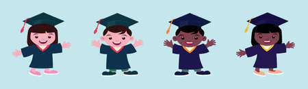 Set of children in a graduation gown and mortar board cartoon icon design template with various models. vector illustration isolated on blue background