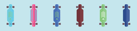 set of skateboard and long board cartoon icon design template with various models. vector illustration on blue background