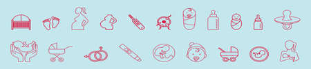 set of maternity and baby object cartoon icon design template with various models. vector illustration isolated on blue background