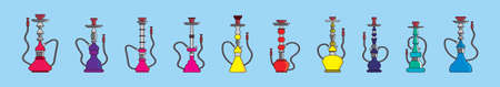 set hookah cartoon icon design template with various models. vector illustration isolated on blue background Vettoriali