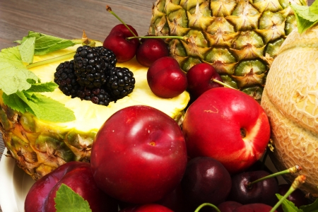 pinnaple: Composition of fresh fruit on the table