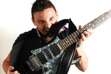 Guitarist on a white background photo