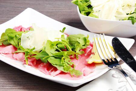 carpaccio: Meat carpaccio on the table