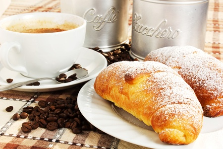 brioches with cup of coffee and sugar Stock Photo - 14403722