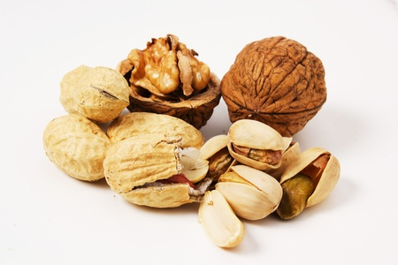 variety of nut on a white background