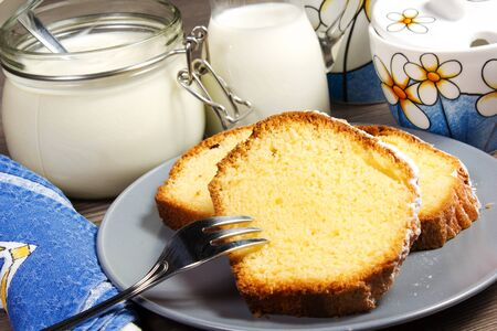 coffeetime: plumcake on the table Stock Photo