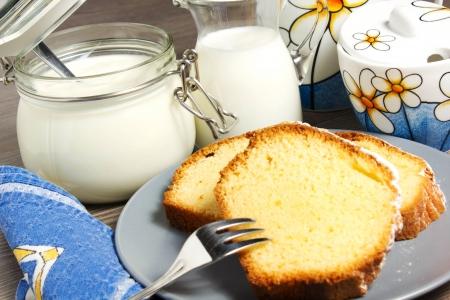 coffeetime: plumcake on the table Stock Photo