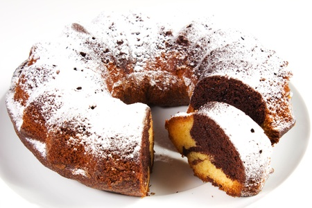 chocolate cake, choclate donut on a white background