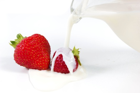 strawberrys and milk photo