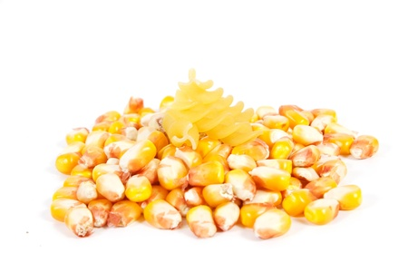 mais: pasta and mais on a white back ground