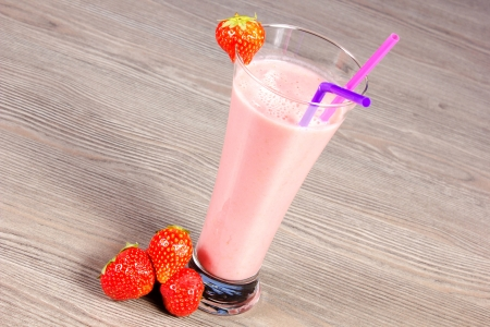strawberry milkshake on the table