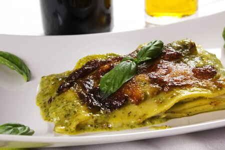 fresh lasagna with pesto sauce  Stock Photo