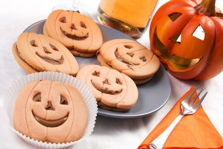 halloween biscuit and pumpkin  photo