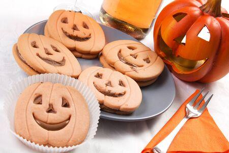 halloween biscuit and pumpkin  Stock Photo