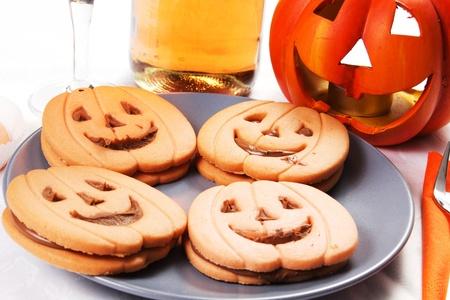 cucurbit: halloween biscuit and pumpkin  Stock Photo