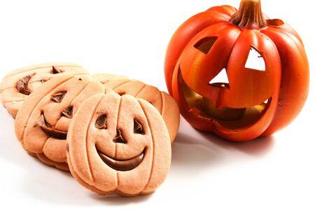 halloween biscuit and pumpkin  photo