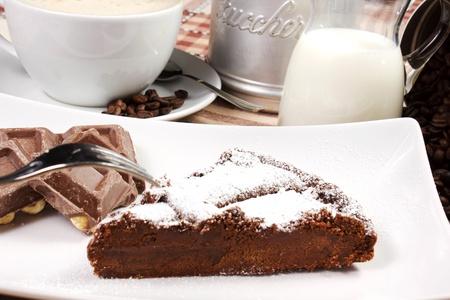 cappuccio: chocolate cake with chocolate bars, milk and cappuccio