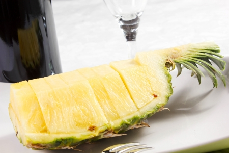 pineapple slices on the dish on the table