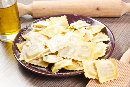homemade ravioli on the table with utensil