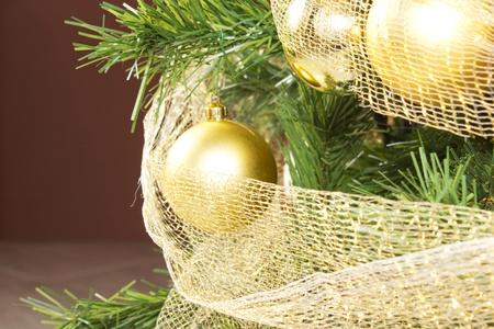 gold balls on a christmas tree