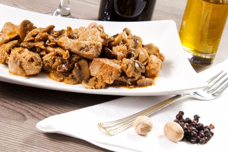 beef stew with mushrooms on the table Stock Photo