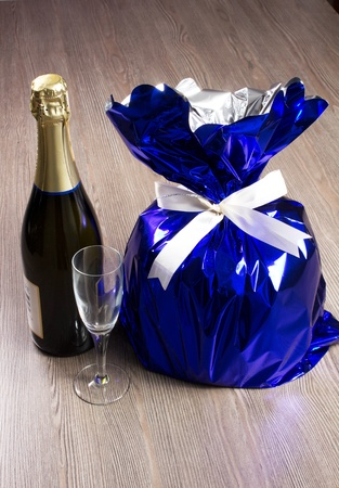 panettone and champagne on the table Stock Photo