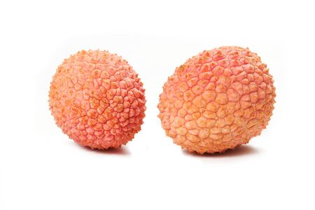 Group of ripe lichi on white background Stock Photo