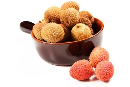 lichi: Group of ripe lichi on white background Stock Photo