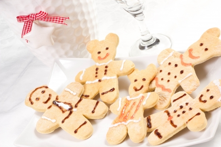gingerbread men on a white background photo