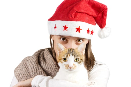girl with cat on a white background photo