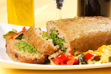 Cold dish rolls with spinach and cheese and peppers and zucchini Stock Photo - 17500343