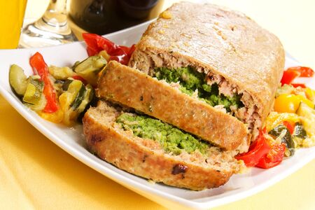 Cold dish rolls with spinach and cheese and peppers and zucchini Stock Photo - 17500347