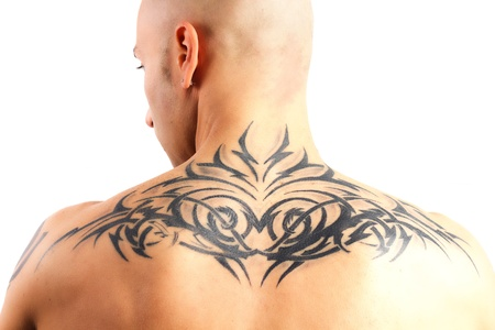 cute tattoo: tattooed man who does gym on a white background