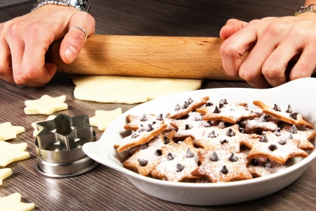 christmas star cookies  on the table with rolling pin Stock Photo - 17720475