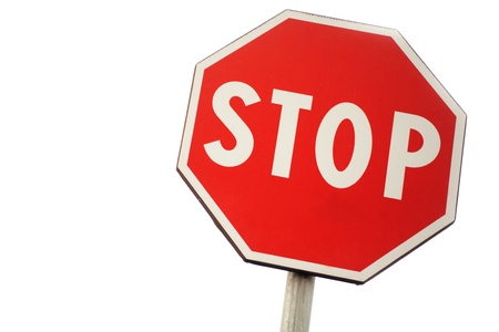 stop road sign on a white background photo