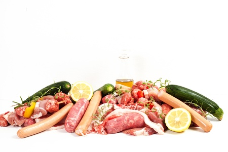 isolated on white  Includes beef, lamb, pork and chicken photo