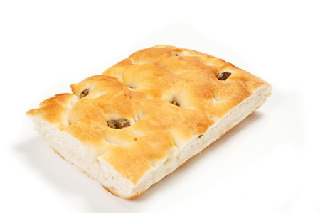 focaccia with olives ,focaccia is flat oven baked Italian bread on the white background