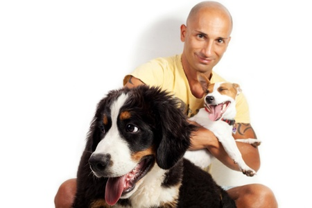 guy with two dogs on the white background  Bernese mountain dog and jack russel
