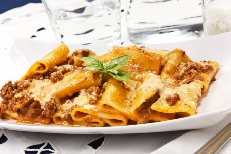 pasta with bechamel and meat sauce photo