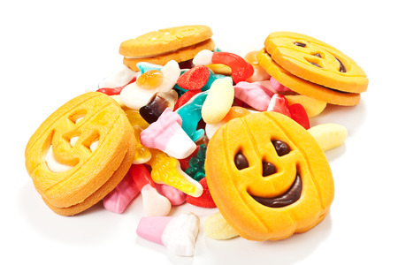 halloween biscuits and candy on a white background Stock Photo - 22808778