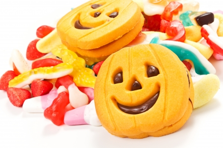 halloween biscuits and candy on a white background Stock Photo - 22808788