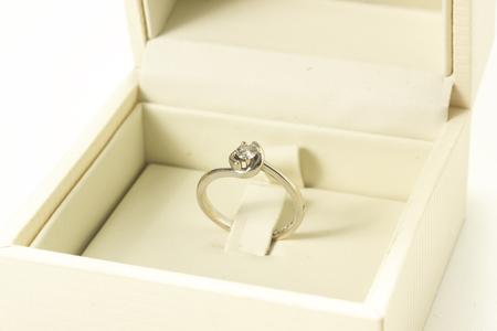 diamond ring on white background Stock Photo