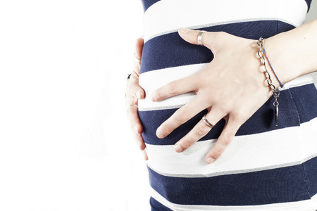 belly of pregnant women Stock Photo